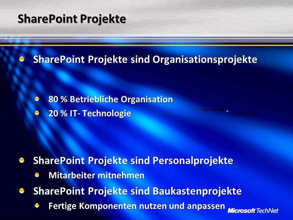 SharePoint Projekte SharePoint Projekte sind Organisationsprojekte