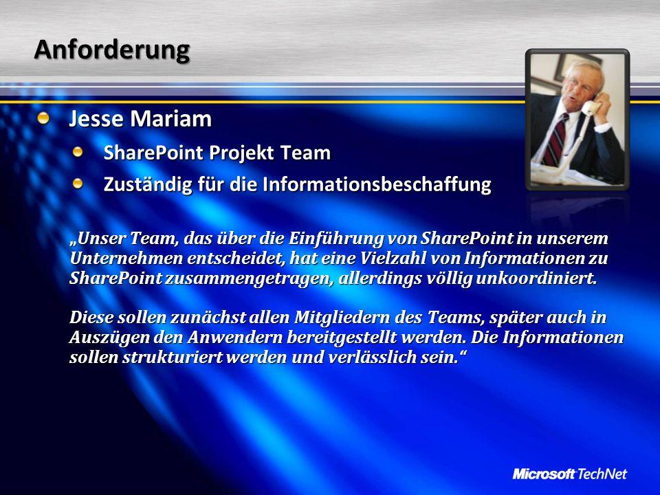 Anforderung Jesse Mariam SharePoint Projekt Team