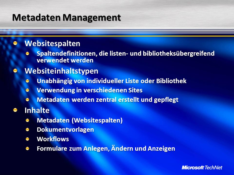 Metadaten Management Websitespalten Websiteinhaltstypen Inhalte