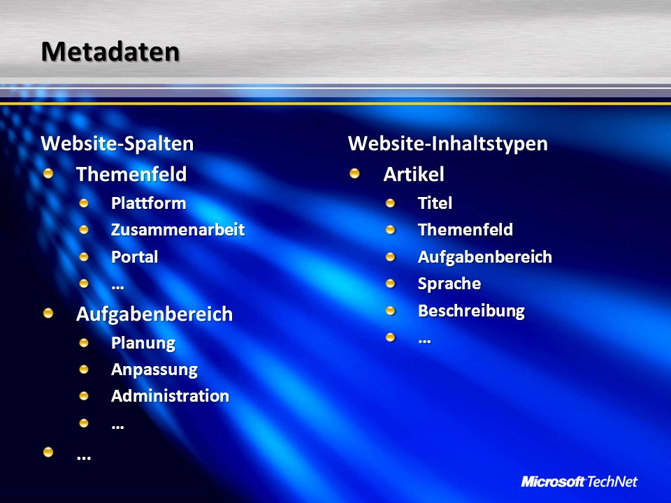 Metadaten Website-Spalten Website-Inhaltstypen Themenfeld