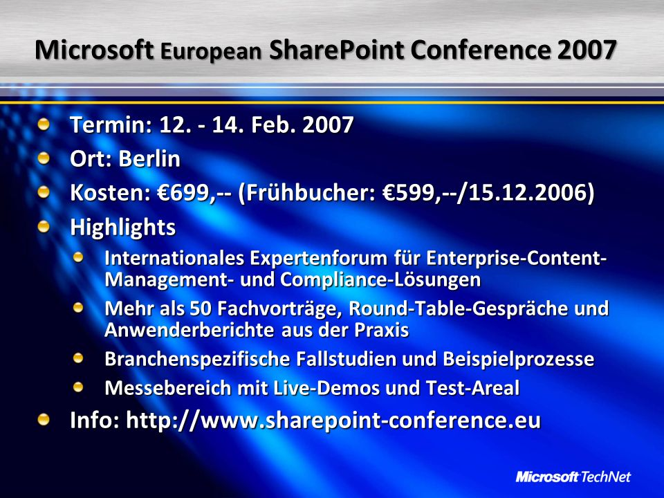 Microsoft European SharePoint Conference 2007