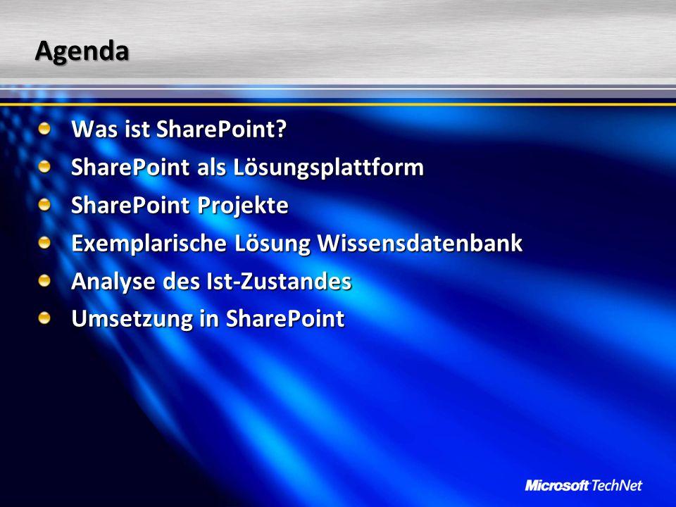 Agenda Was ist SharePoint SharePoint als Lösungsplattform