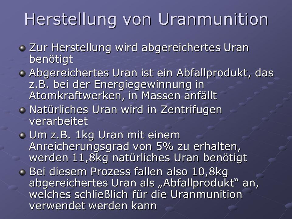 Herstellung von Uranmunition