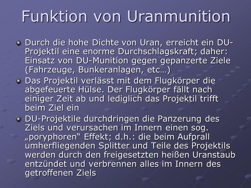 Funktion von Uranmunition