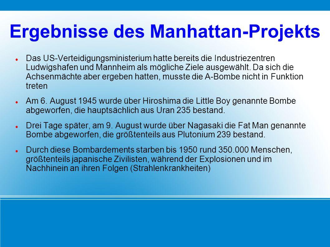 Ergebnisse des Manhattan-Projekts