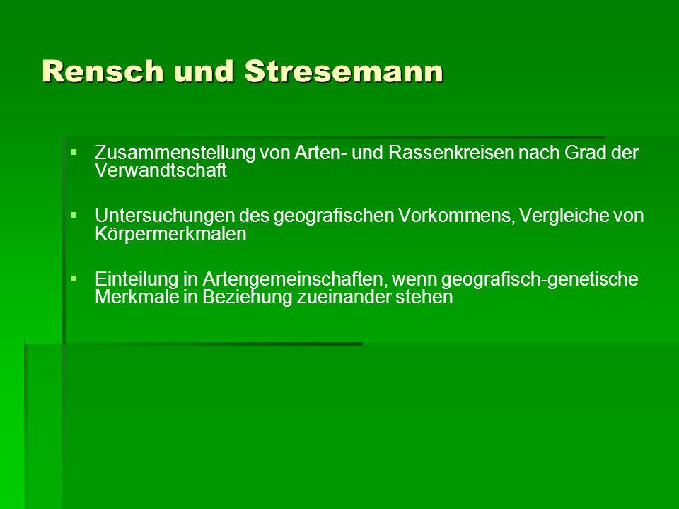 Rensch und Stresemann Zusammenstellung von Arten- und Rassenkreisen nach Grad der Verwandtschaft.