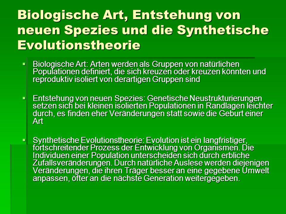 Biologische Art, Entstehung von neuen Spezies und die Synthetische Evolutionstheorie