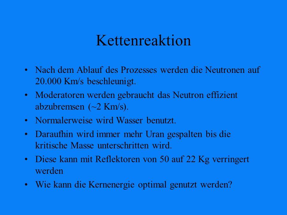 Kettenreaktion Nach dem Ablauf des Prozesses werden die Neutronen auf 20.000 Km/s beschleunigt.