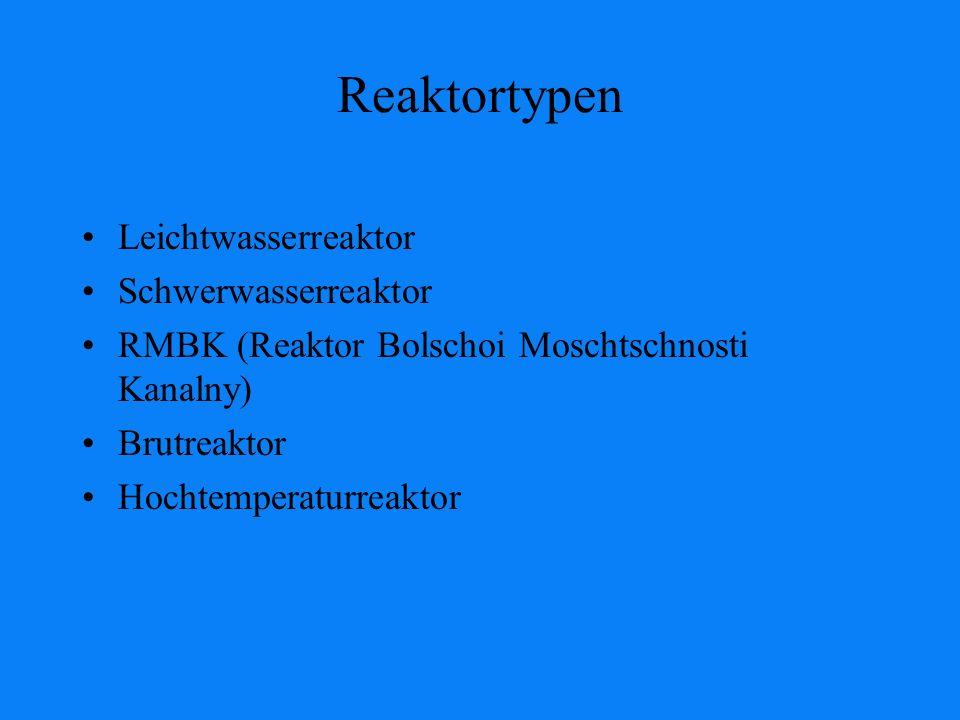 Reaktortypen Leichtwasserreaktor Schwerwasserreaktor