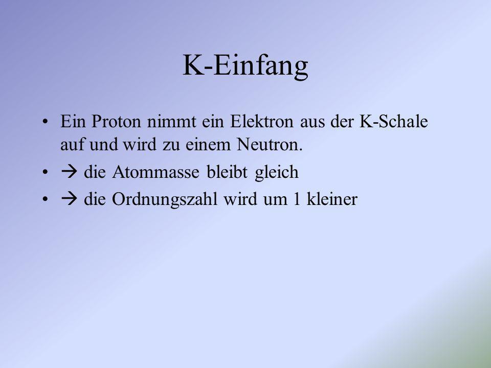 K-Einfang Ein Proton nimmt ein Elektron aus der K-Schale auf und wird zu einem Neutron.  die Atommasse bleibt gleich.
