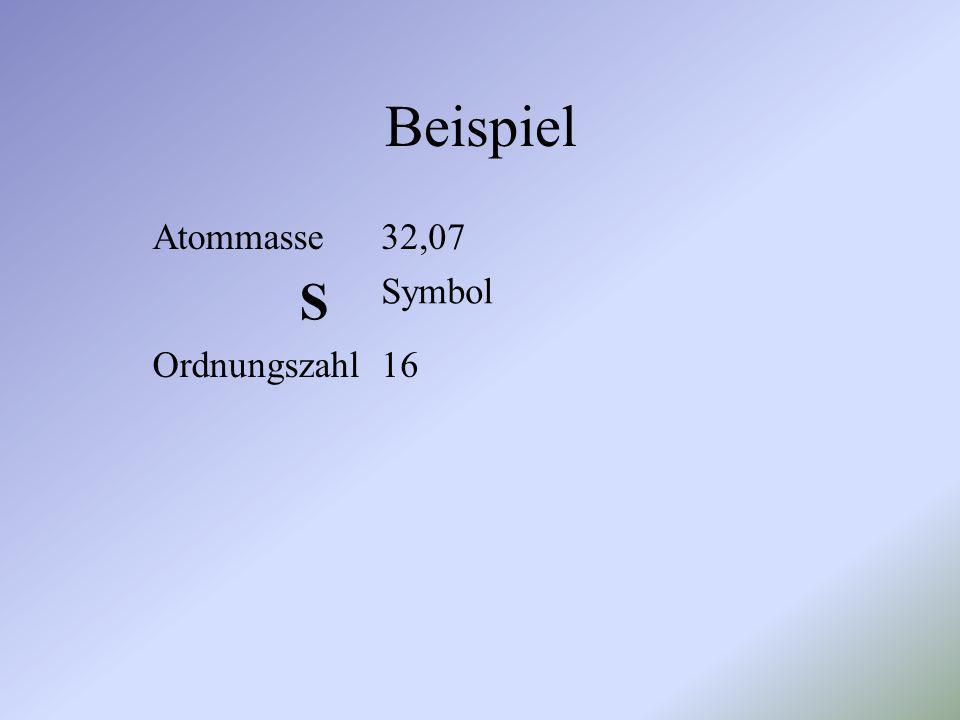 Beispiel Atommasse 32,07 S Symbol Ordnungszahl 16