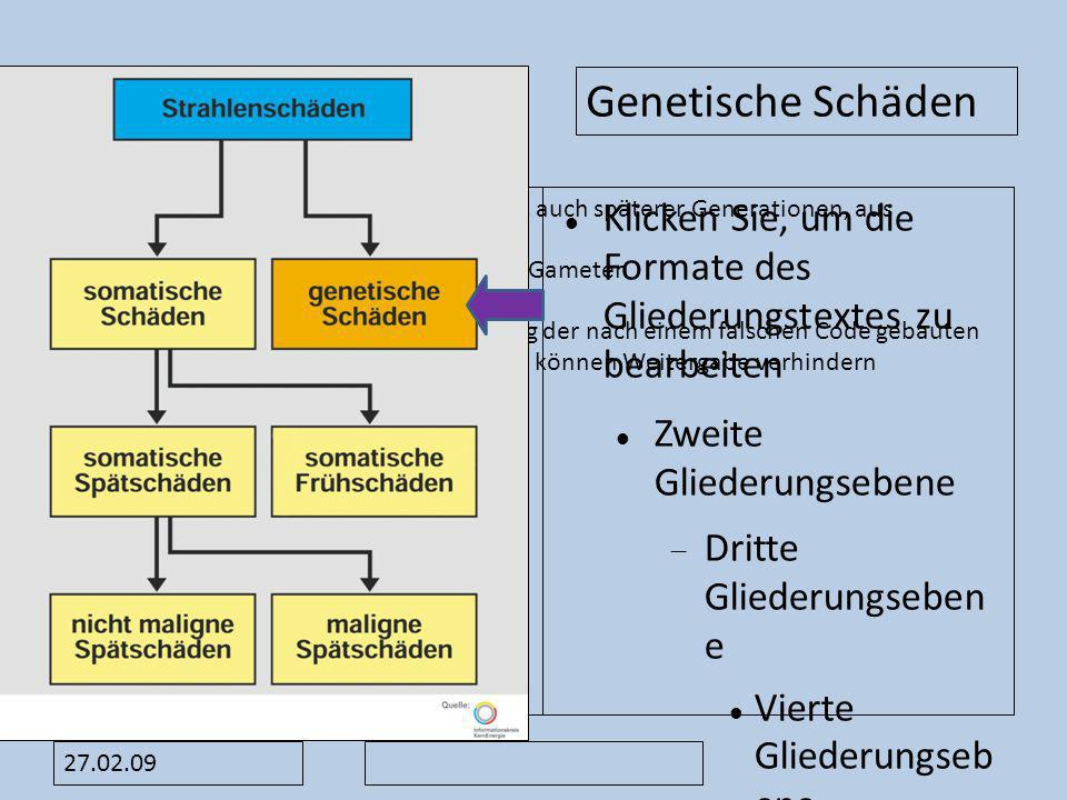 Genetische Schäden Wirken sich erst bei den Nachkommen, auch späterer Generationen, aus. Mutationen an den Chromosomen der Gameten.