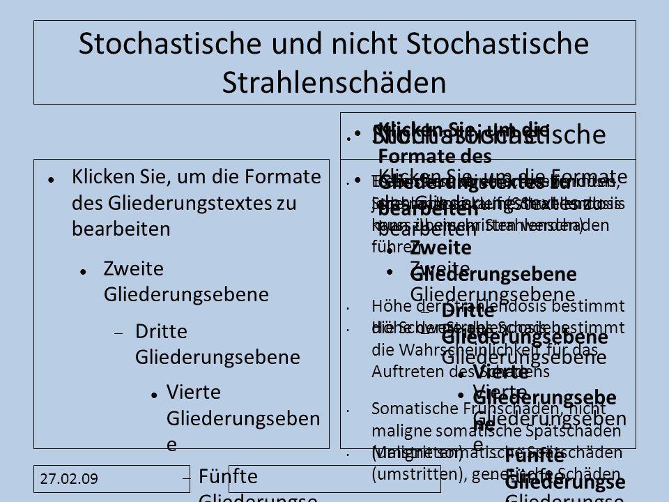 Stochastische und nicht Stochastische Strahlenschäden