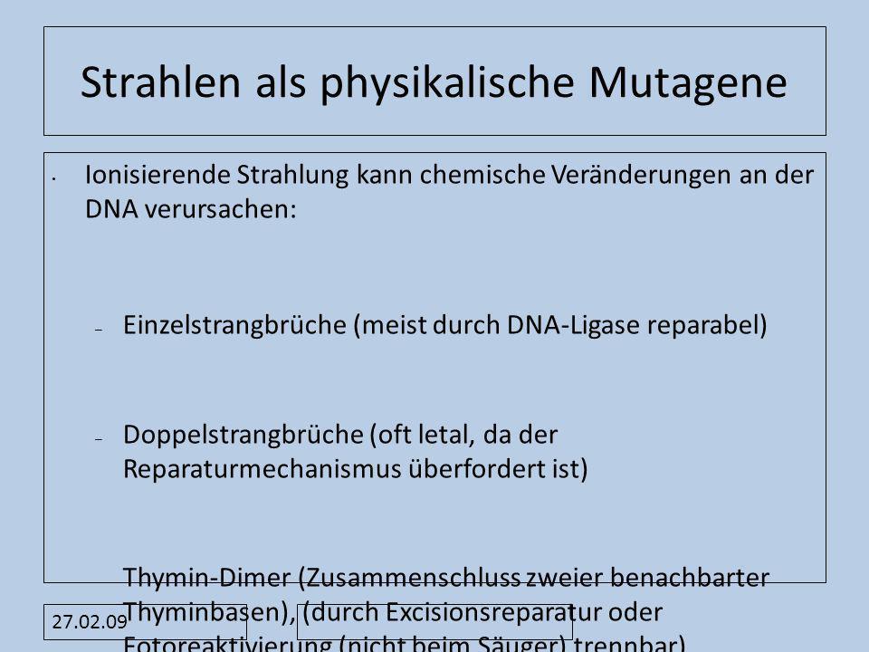 Strahlen als physikalische Mutagene