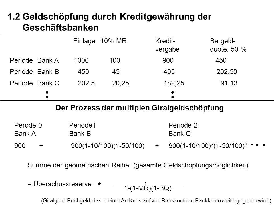 1.2 Geldschöpfung durch Kreditgewährung der Geschäftsbanken
