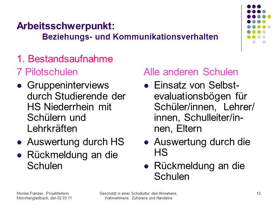 Arbeitsschwerpunkt: Beziehungs- und Kommunikationsverhalten