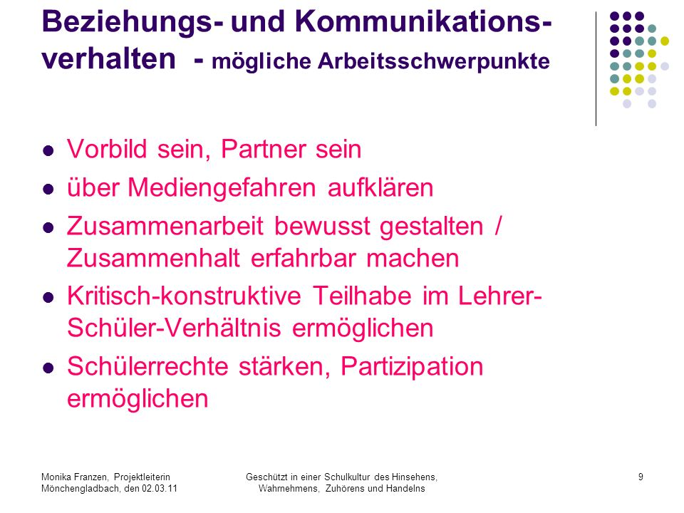 Beziehungs- und Kommunikations-verhalten - mögliche Arbeitsschwerpunkte