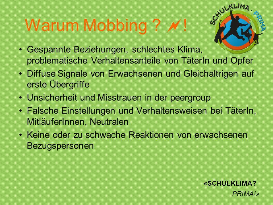 Warum Mobbing ! Gespannte Beziehungen, schlechtes Klima, problematische Verhaltensanteile von TäterIn und Opfer.