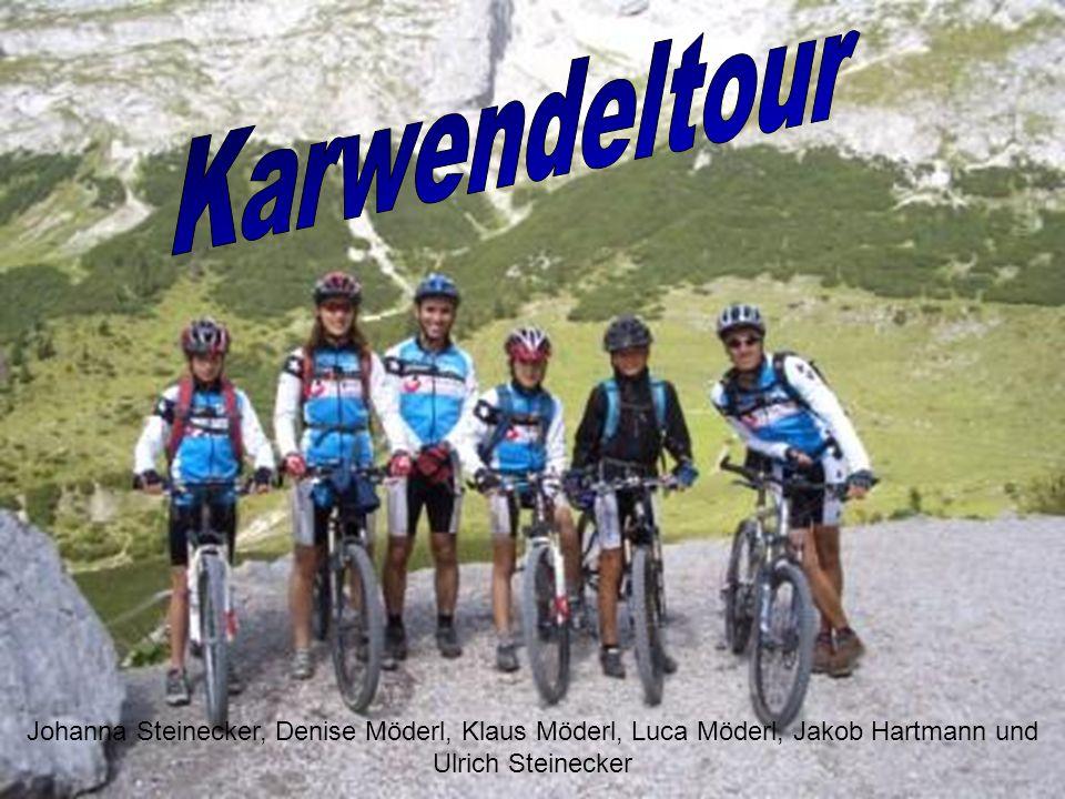 Karwendeltour Johanna Steinecker, Denise Möderl, Klaus Möderl, Luca Möderl, Jakob Hartmann und Ulrich Steinecker.
