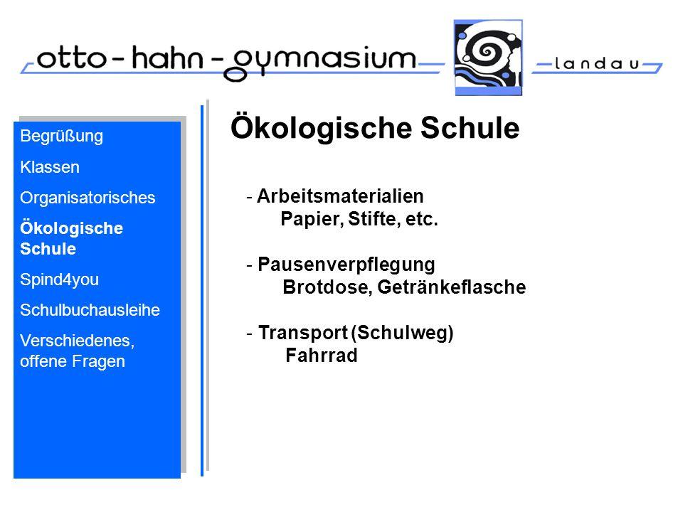 Ökologische Schule Arbeitsmaterialien Papier, Stifte, etc.