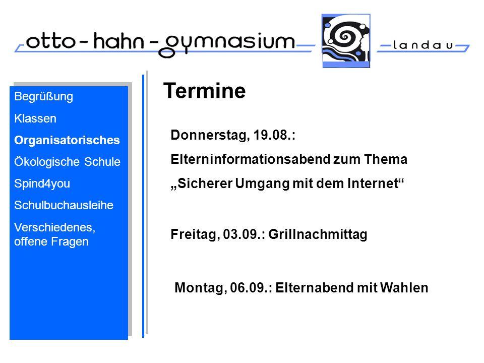 Termine Donnerstag, 19.08.: Elterninformationsabend zum Thema