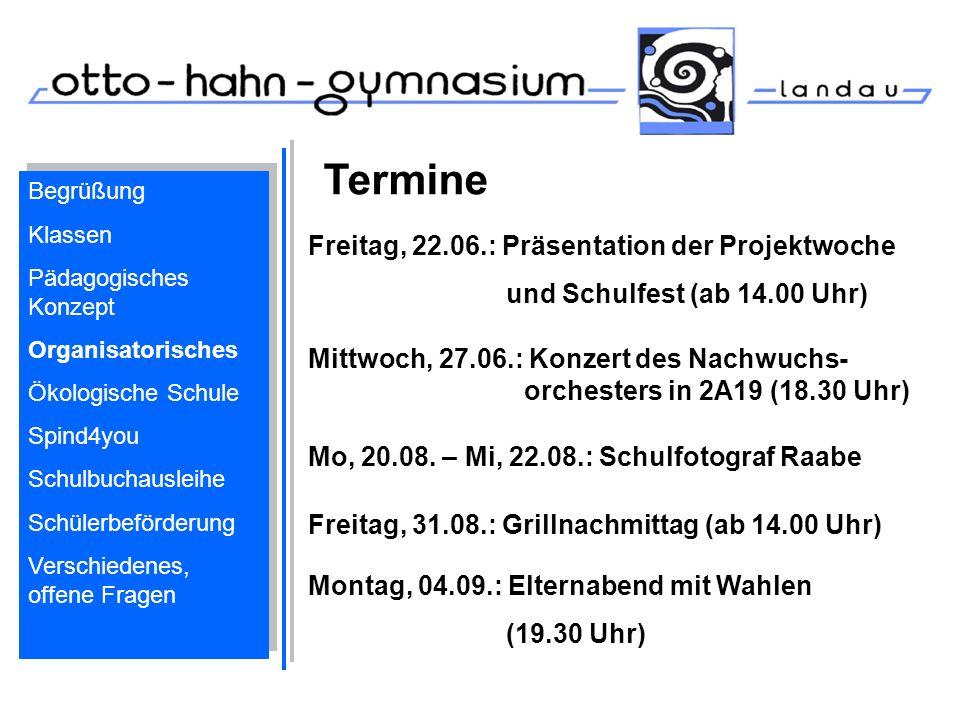 Termine Freitag, 22.06.: Präsentation der Projektwoche