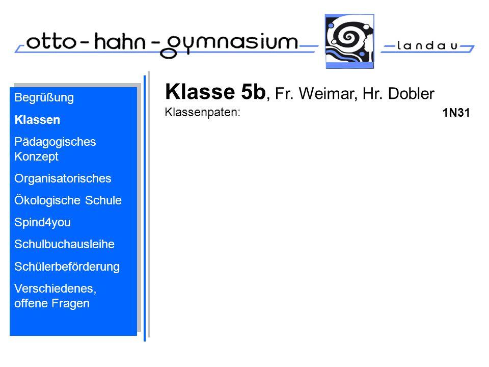 Klasse 5b, Fr. Weimar, Hr. Dobler Klassenpaten: