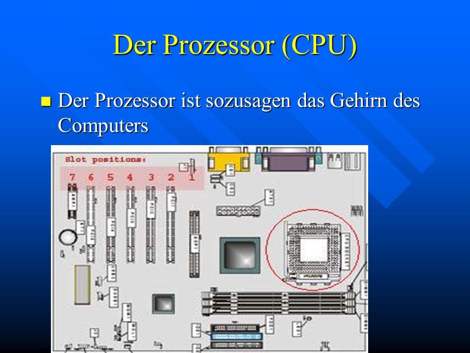 Der Prozessor (CPU) Der Prozessor ist sozusagen das Gehirn des Computers