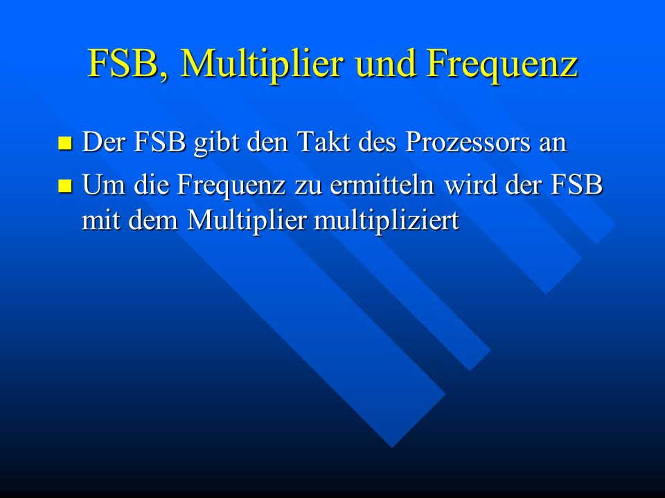 FSB, Multiplier und Frequenz