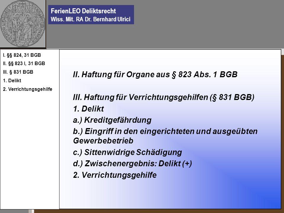 II. Haftung für Organe aus § 823 Abs. 1 BGB