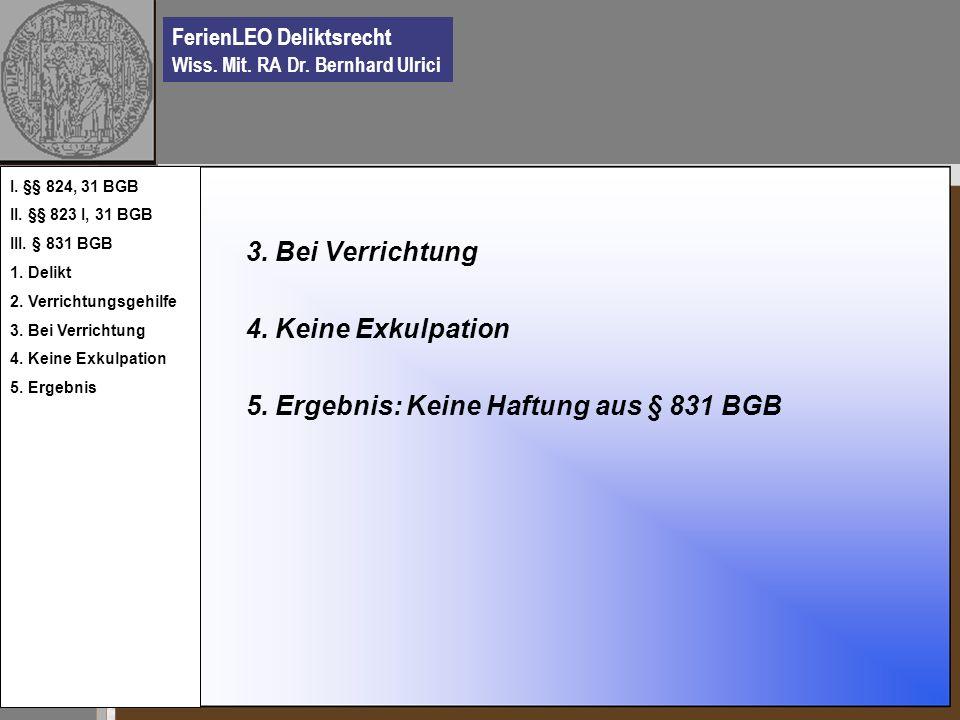 5. Ergebnis: Keine Haftung aus § 831 BGB