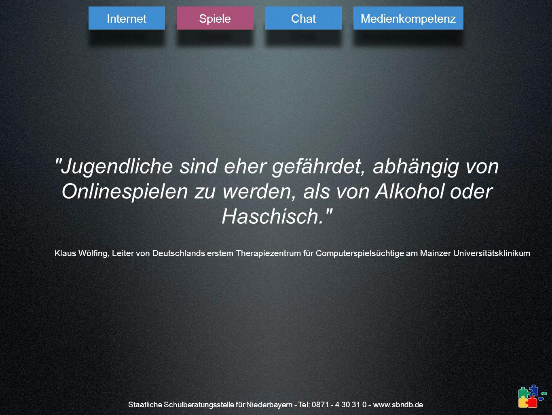 Internet Spiele. Chat. Medienkompetenz. Jugendliche sind eher gefährdet, abhängig von Onlinespielen zu werden, als von Alkohol oder Haschisch.