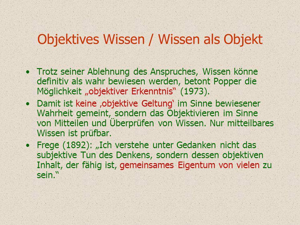 Objektives Wissen / Wissen als Objekt