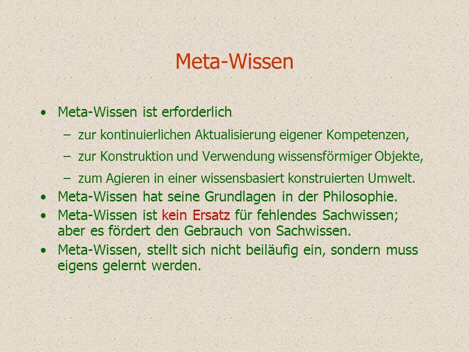 Meta-Wissen Meta-Wissen ist erforderlich