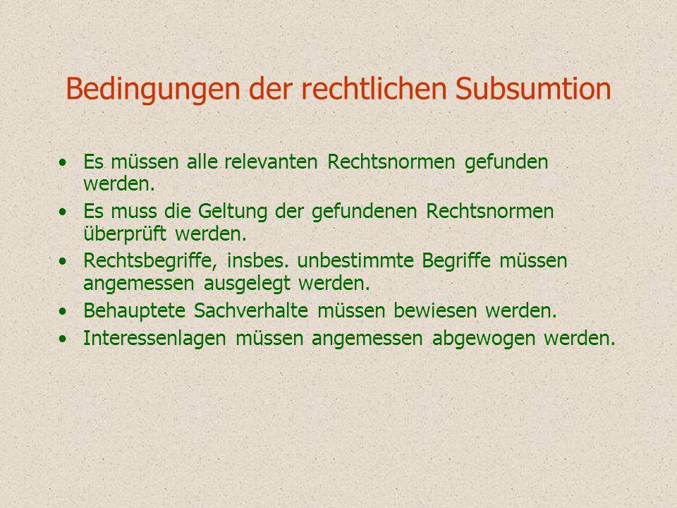 Bedingungen der rechtlichen Subsumtion