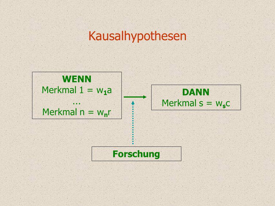 Kausalhypothesen WENN Merkmal 1 = w1a ... DANN Merkmal n = wnr