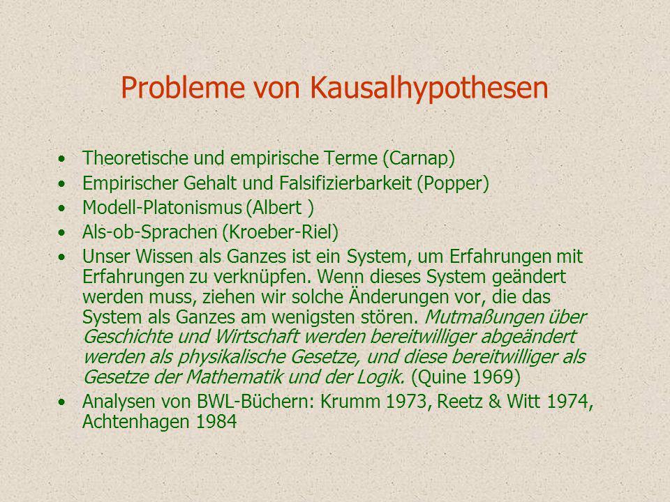 Probleme von Kausalhypothesen