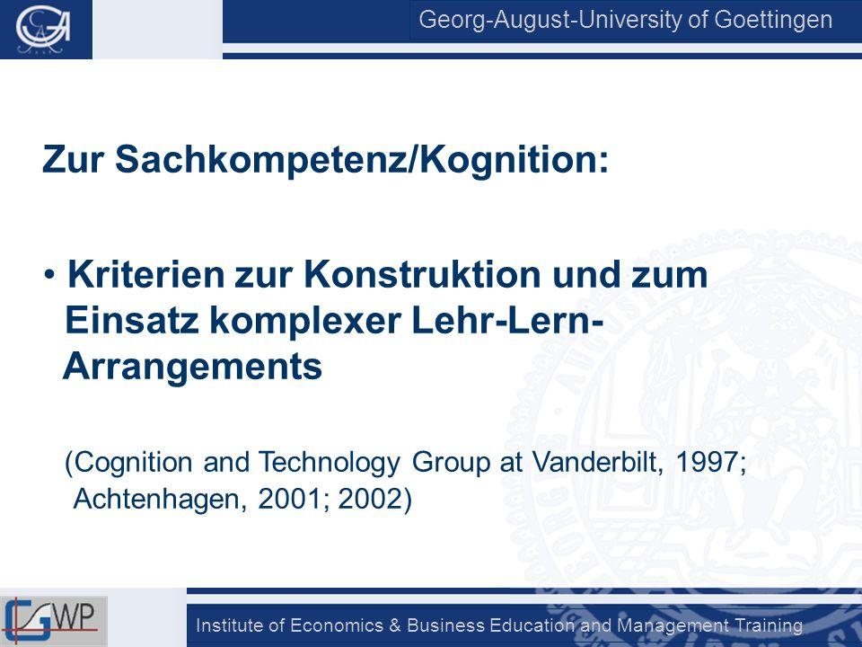 Zur Sachkompetenz/Kognition: