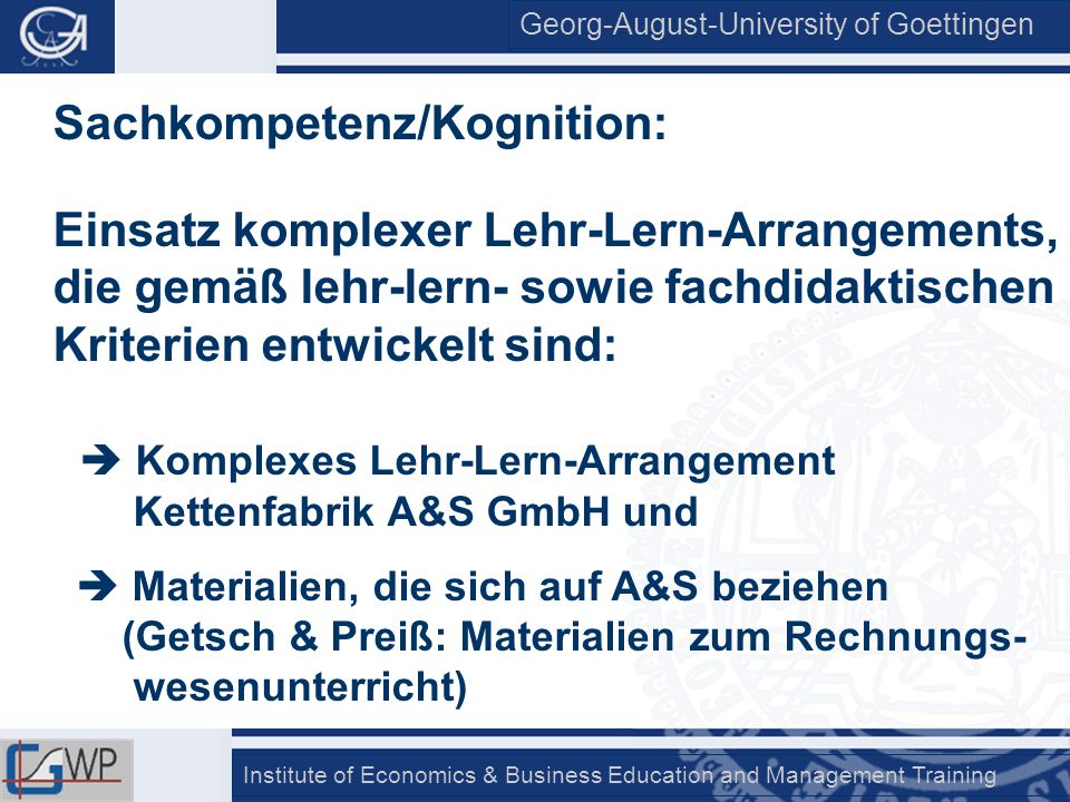Sachkompetenz/Kognition: