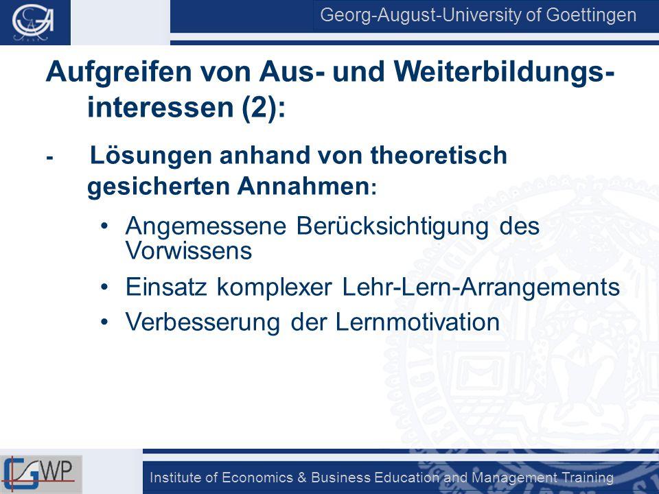 Aufgreifen von Aus- und Weiterbildungs-interessen (2):