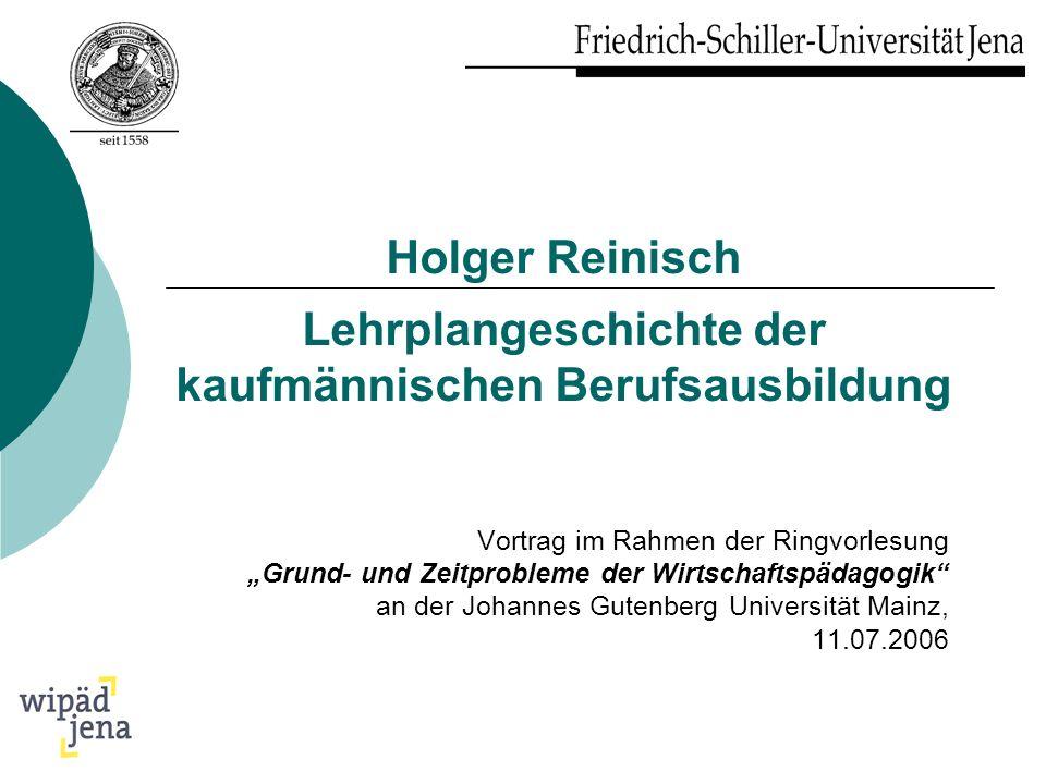 Holger Reinisch Lehrplangeschichte der kaufmännischen Berufsausbildung