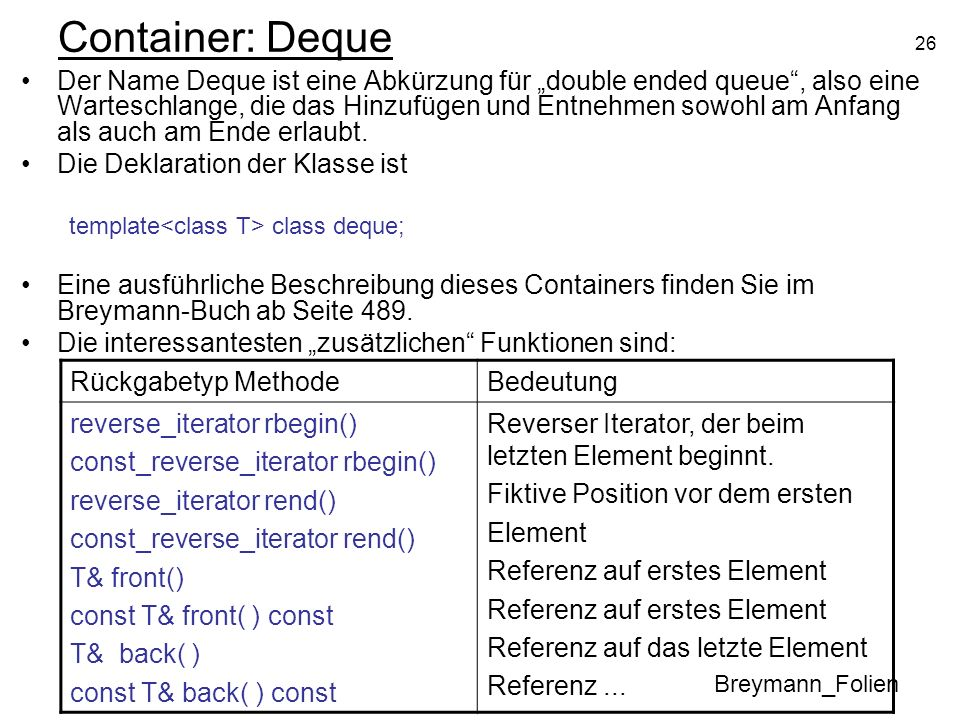 Container: Deque