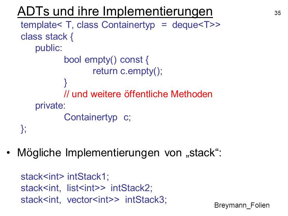 ADTs und ihre Implementierungen