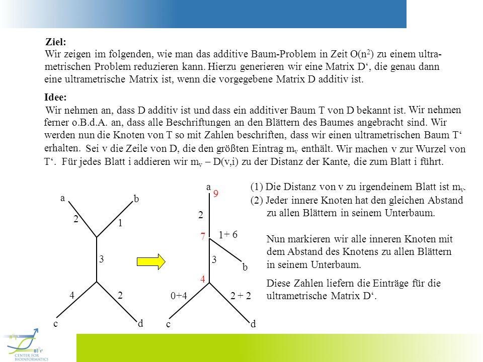 Ziel: Wir zeigen im folgenden, wie man das additive Baum-Problem in Zeit O(n2) zu einem ultra- metrischen Problem reduzieren kann.