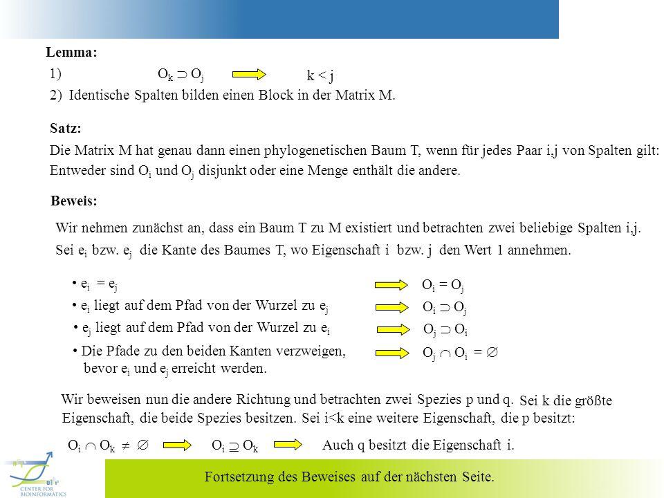 Lemma: 1) Ok  Oj. k < j. 2) Identische Spalten bilden einen Block in der Matrix M.