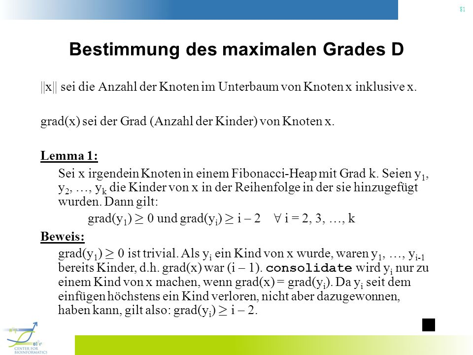 Bestimmung des maximalen Grades D
