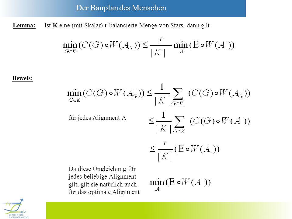 Lemma: Ist K eine (mit Skalar) r balancierte Menge von Stars, dann gilt. Beweis: für jedes Alignment A.