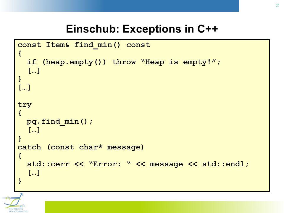 Einschub: Exceptions in C++