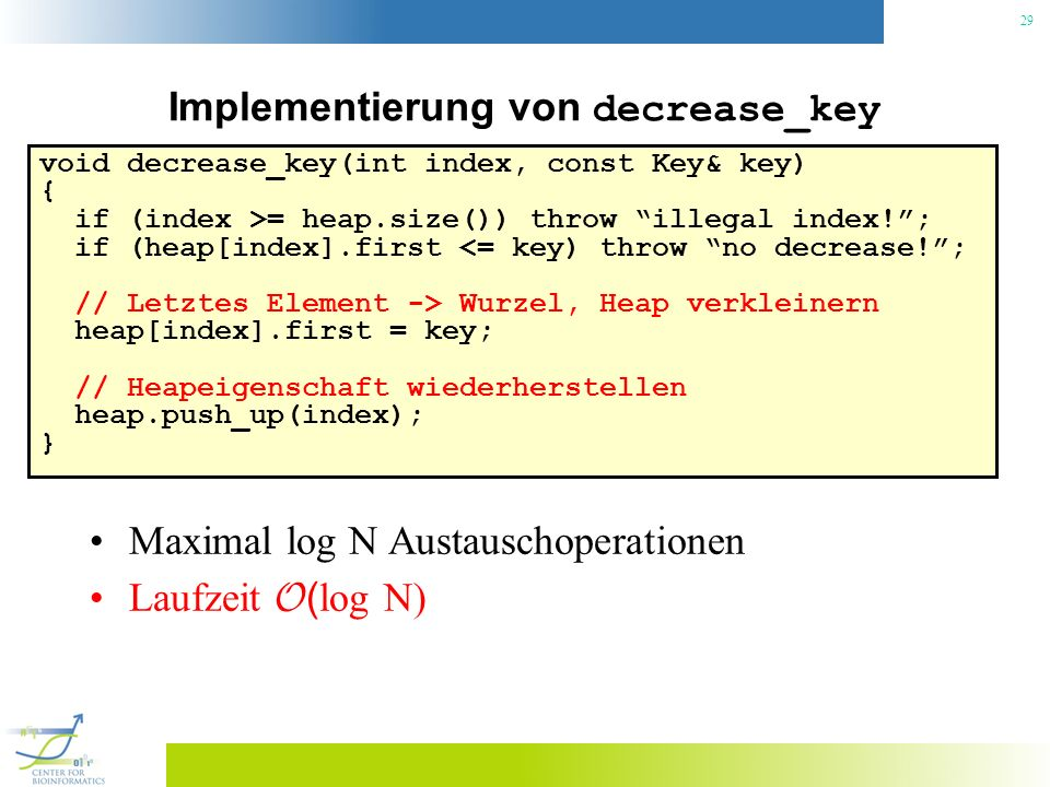 Implementierung von decrease_key