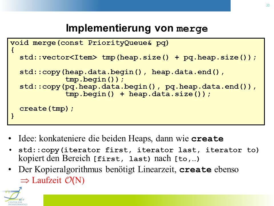 Implementierung von merge